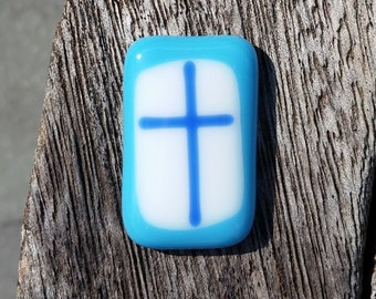 Comfort Pocket Cross Turquoise and Blue Fused Glass - Worry Stone - Christian Gift