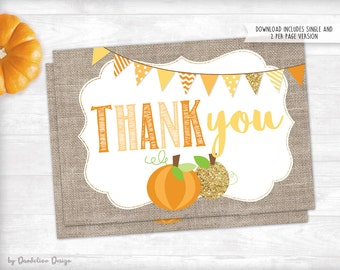 Little Pumpkin Baby Shower Thank You Card Instant Download Printable