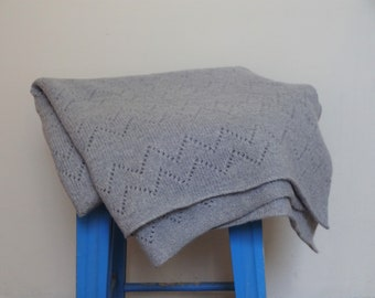 Knitted Lambswool Zig Zag Lace Pattern Blanket
