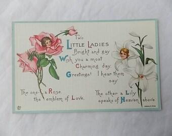 Vintage Postcard Anthropomorphic Flowers Little Ladies Pitts Poem Unused