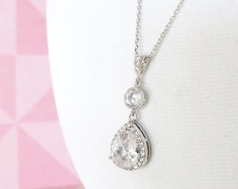 Rozia - Luxe Cubic Zirconia Teardrop Necklace, silver crystal necklace, Bridesmaid necklace, gifts for her, party, office jewelry