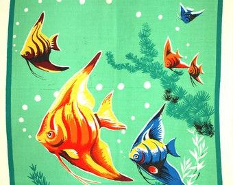 Angelfish Tea Towel - Vintage Sea Life Fish Cotton Dish Cloth - Stunning Colours! Aquarium Barrier Reef