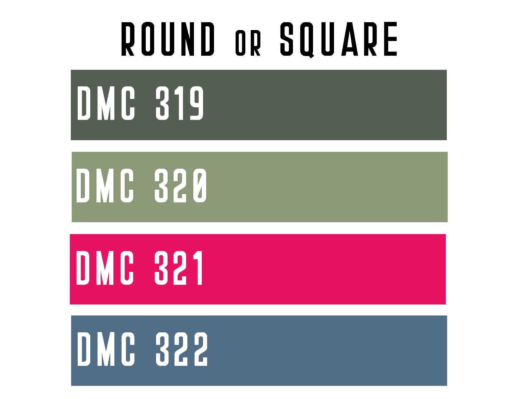 DMC 319 / 320 / 321 / 322 ROUND or SQUARE Resin Diamond