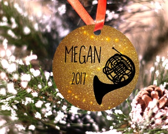 Personalized French Horn Ornament Musician Band Christmas Gift