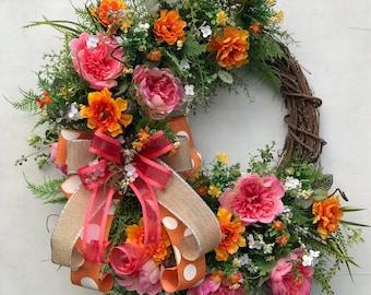 Summer Wreath, Spring Wreath, Floral Wreath, Summer Door Decor, Front Door Wreath