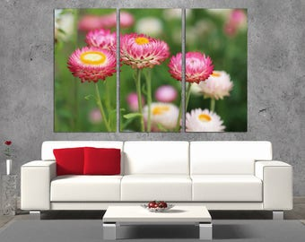 3 Panel  Canvas Split , Field of daisy, Photo Print on Canvas,  Triptych  Canvas, Interior design, Room Decoration, Photo gift, wall art,