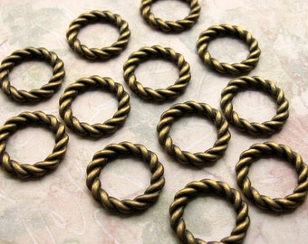 Bronze Pendant Rings 20mm - 12 Pieces - 20mm Antique Bronze Braided Rings, Circle Charms, Connector Rings, Lead Free, Nickle Free (GFD0027)