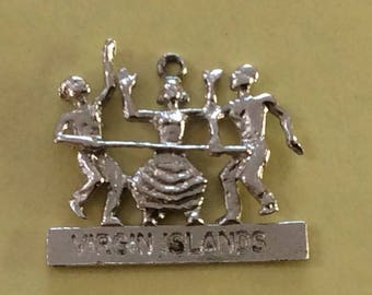 Sterling silver virgin Islands limbo party charm vintage #318 s