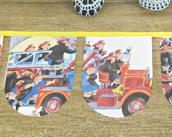 SALE Fireman Bunting Fire Engine - Nursery Birthday Banner Children Garland Decor Yellow Truck Vehicle - Handmade For Boys Party Supplies