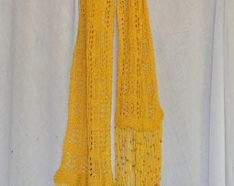 Yellow Scarf with Beaded Fringe