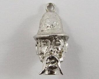 British Police (Bobby) Head Sterling Silver Vintage Charm For Bracelet