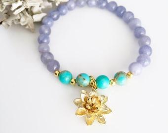 Lotus Mala Bracelet, Yoga Bracelet, Mala bead bracelet, Lotus Bracelet, Wrist Mala, Lotus Mala, Healing bracelet, Yoga Gift for her, BML