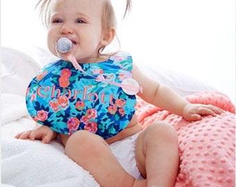 Boutique Bib & Burp Cloth - Meadow Blooms in Midnight  - Amy Butler Boutique Bib and Burp cloth set - Custom Monogram