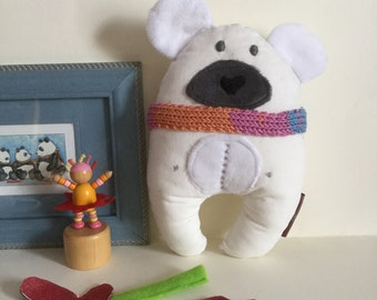 Scarf White Polar Bear Handmade Plushie with moon and stars, Nursery, Kawaii, Newborn, Gift
