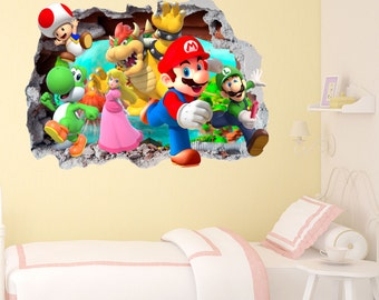 Mario Gang Smashed Wall Sticker In Wall Crack Kids Boys Girls Bedroom Vinyl  Decal Art Sticker Gift New