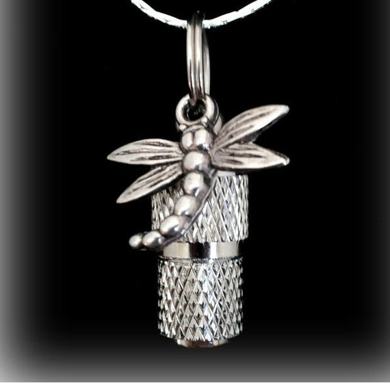 """MINI Cremation Urn  on 18"""" Necklace with Dragonfly - Custom Hand Assembled....  Includes Velvet Pouch and Fill Kit"""