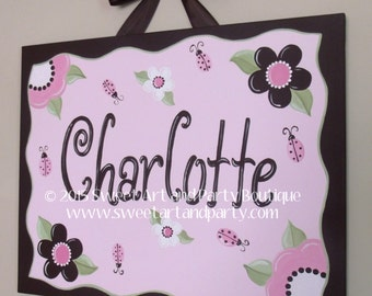 Ladybug, Canvas name sign, Pink, Brown, Personalized, Hand Painted, Nursery wall art, Ladybug nursery, Ladybug art, Pink Brown Nursery
