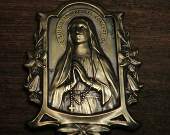 antique French bronze plaque display i am the immaculate conception by E.Dropsy
