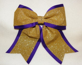 Purple with Glittery Gold Hairbow