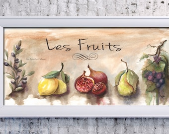 French Food Poster, French Artwork, Figs And Lemons, Kitchen Print, French KitchenDecor, Kitchen Art, French Fruit Kitchen Poster