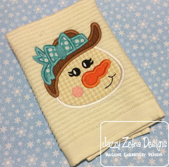 Snow girl with floppy hat Applique Embroidery Design - Snowman appliqué design - girl appliqué design - snow girl appliqué design - winter