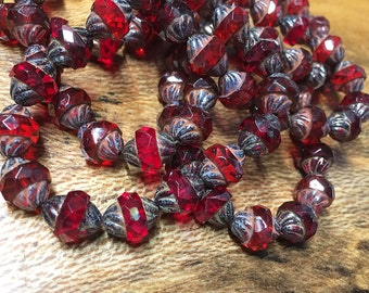 15 Ruby Red with Picasso Carved Czech Glass Turbine Beads 11mm x 10mm 0014
