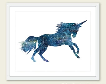 Unicorn Print - Watercolor Unicorn Art Print - Unicorn Wall Art - 8x10 - Blue Unicorn Print - Unicorn Art - Aldari Art