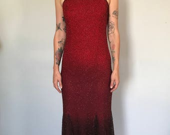 Gorgeous Ombre Sequin Evening Dress with Incredible Beading