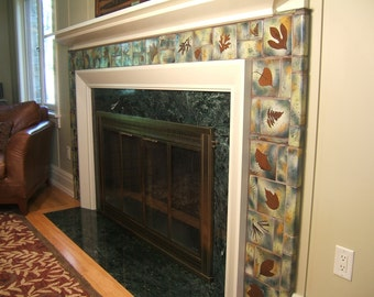 fireplace tile with leaf tiles custom available botanical woodland Arts and Crafts Style rustic cabin bungalow