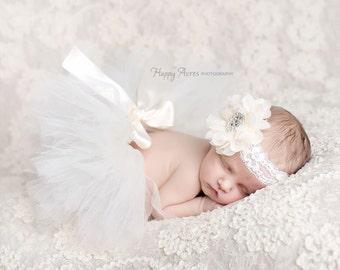 Ivory Tutu and Headband Set, Baby Tutu, Newborn Tutu, Newborn Photography Prop, Baby Girl Prop