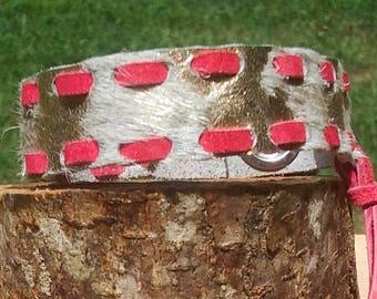 Gold & Pink Leather Bracelet-Leather Cuff-Hair on hide Jewelry-Gypsy Boho Bracelet