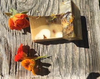 Rose and nasturtium soap