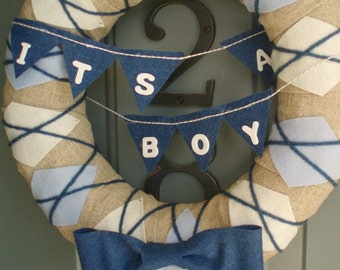 Yarn Wreath Handmade Front Door - Baby Boy 12in.