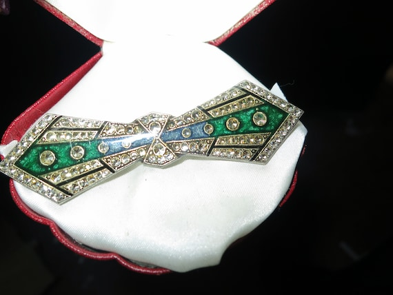 Wonderful vintage Bex style silver metal green black enamel deco  brooch