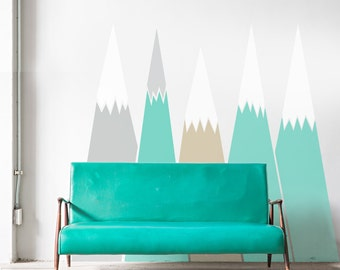 Mountains Wall Decal Headboard Removable Self Adhesive Baby Kids Room Decals Pattern Custom Design washable sticker removable #mountains011