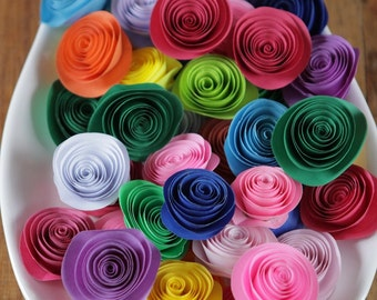 100 Pcs Rainbow Colored  Spiral Paper Rosettes for Weddings and Craft Projects
