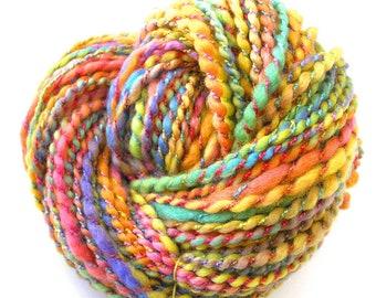 Handspun Yarn Super Bulky BFL Wool Rayon Yarn Hand Dyed Yarn Soft Shiny Art Yarn 110 yards Colorful Pastels - Sunshine Rainbow