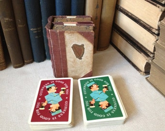 Vintage 1950s Guinness Playing Cards ~ 1940s Harp Card Case