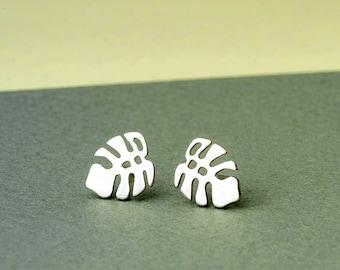 Leaf Earrings in sterling silver Monstera studs Tropical post Earrings Dainty Jewelry Palm Leaf Everyday Earrings Birthday gift