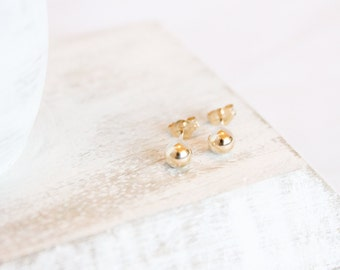 Simple Gold Studs - 5mm - 14k Gold Filled - Ball Posts - Small Earrings - Round Studs - Gold Earrings - Simple Earrings - Gift For Her