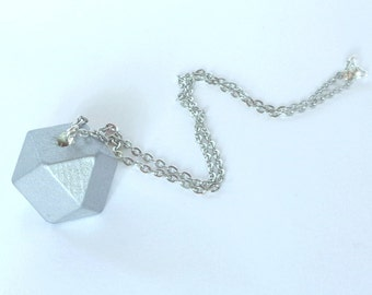 Polygon gray wooden necklace