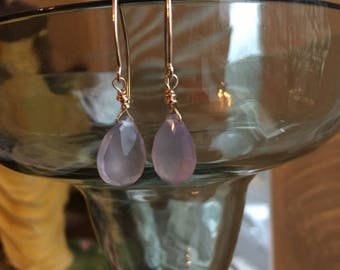 Lavender Chalcedony and 14k Gold Fill Earrings - Free U.S. Shipping
