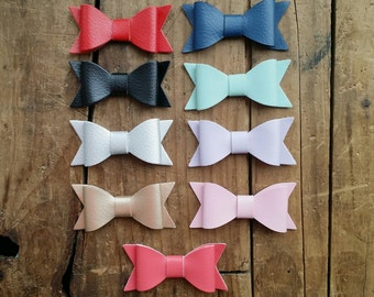 "Faux Leather bow headband, YOU PICK colors, Nylon heaband, 2"" bow, Faux leather bow"