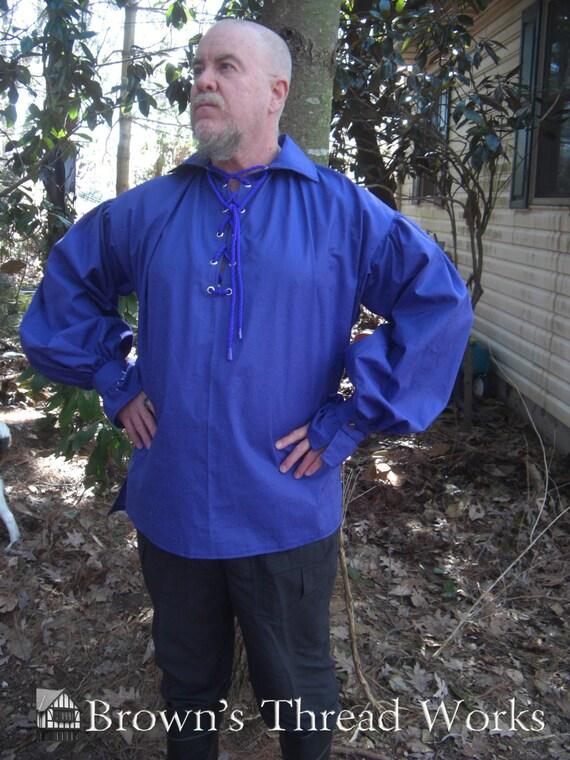 PIRATE POET RENAISSANCE viking tunic shirt in deep yellow/gold for men Custom To Fit W0bjLxp