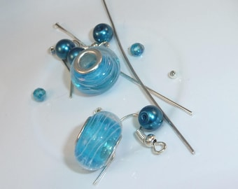 "Kit ""turquoise strand"" Pearl charm Murano style"