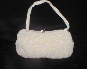 Vintage pale yellow Beaded Evening Bag Purse