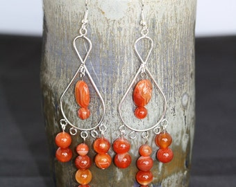 Red Line Agate Earrings - Item 1514