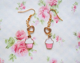 Cupcake Earrings, Charm Earrings, Cupcake Charm Earrings, Gold Cupcake Earrings, Kawaii Earrings, Sweet Lolita, Cute Earrings, Gold Plated