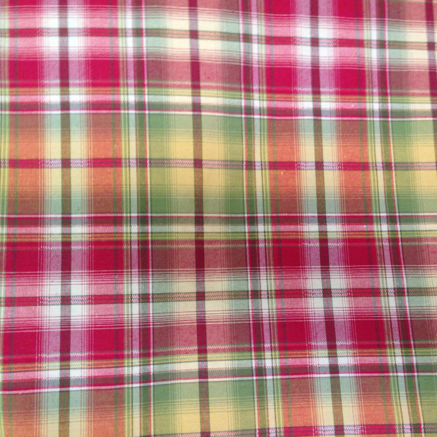 French Country Plaid Fabric Red Yellow And Green Plaid