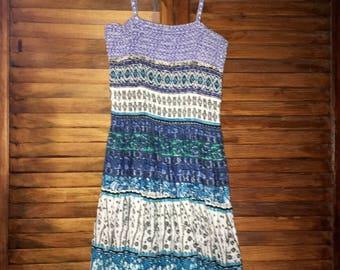 Vintage 90's Raya Sun Indigo Blue Hippie Boho Sundress Long Dress Size Small